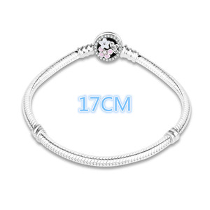 Image 2 - 100% 925 Sterling Silver Enamel Flower Charm Chain Fit Original Bracelet Bangle for Women Authentic DIY Jewelry berloque Gift