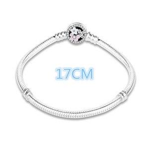 Image 2 - 100% 925 prata esterlina esmalte flor charme corrente caber pulseira pulseira original para as mulheres autêntico diy jóias berloque presente