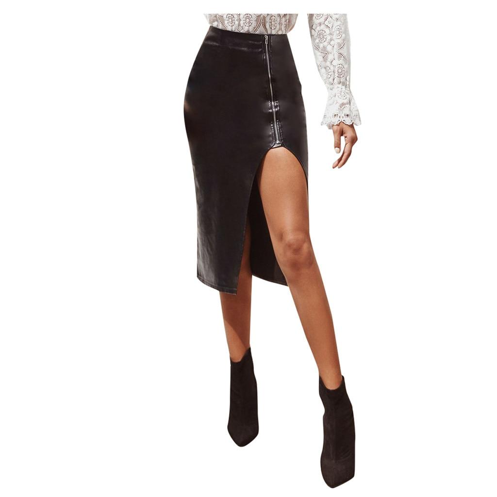 Sexy Women Leather Skirt Bag Hip Split Zipper High Waist Irregular Skirt Office Party Black Pencil Knee- Length Skirts  #YJ2