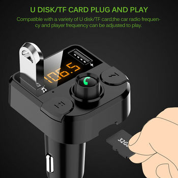 Handsfree Wireless Car Bluetooth Car Kit Bluetooth FM Transmitter Support TF U Disk USB For Car Charger MP3 Player Accessories car mp3 player bluetooth fm transmitter handsfree car kit audio radio voltage monitor tf u disk 2 usb charger audio car music