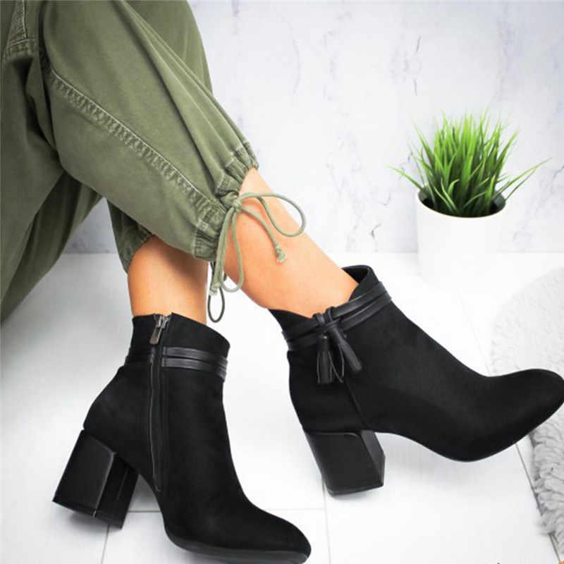 Phụ Nữ Mùa Đông Thời Trang Nữ Mắt Cá Chân Ngắn Giày Chắc Chắn Đơn Giày Mũi Tròn Đen Xám Đỏ Da Lộn Boot Bota Feminina