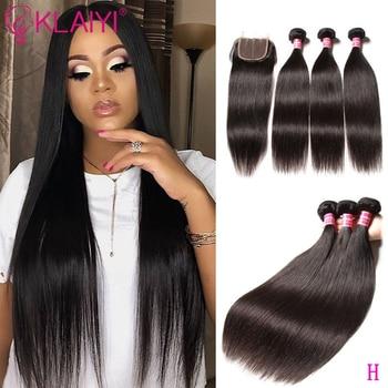 KLAIYI HAIR Malaysian Straight Hair Bundles With Closure 100% Human Hair Extension 3 Bundles With Closure Remy Hair FreeShipping 1
