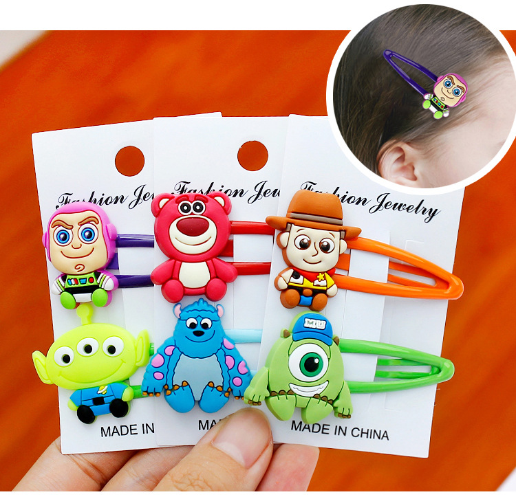 1 Pair Cartoon Toy Story Woody Buzz Light Year Strawberry Bear PVC Bobby Pin Fashion Hair Pin Creative Hair Clips Gift For Kids