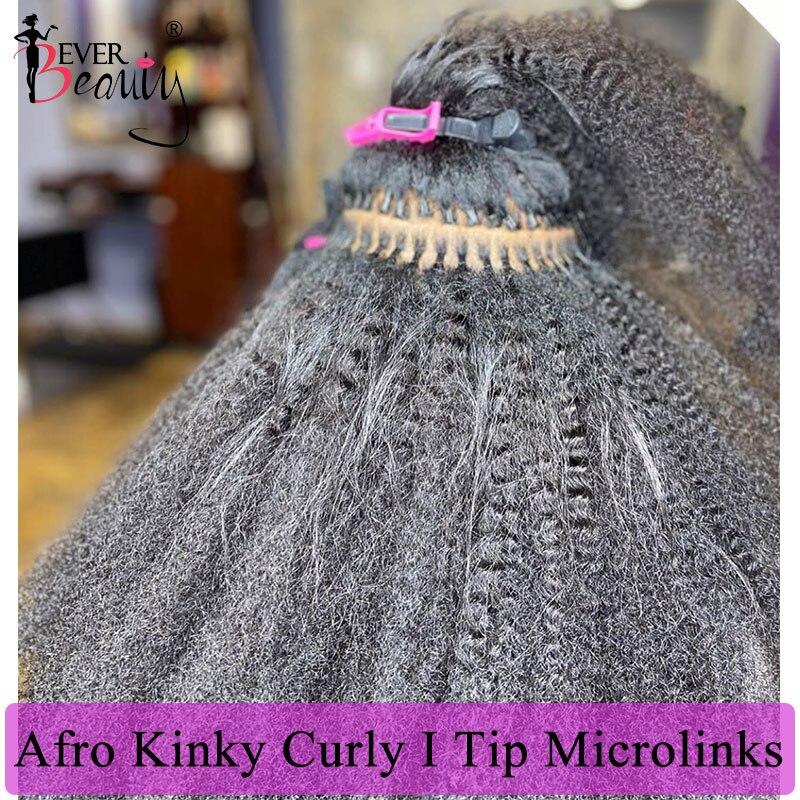 Mongol Afro crépus bouclés je pointe Extensions de cheveux pour les femmes noires 4B 4C je pointe microlencres 100% cheveux humains vierges jamais beauté