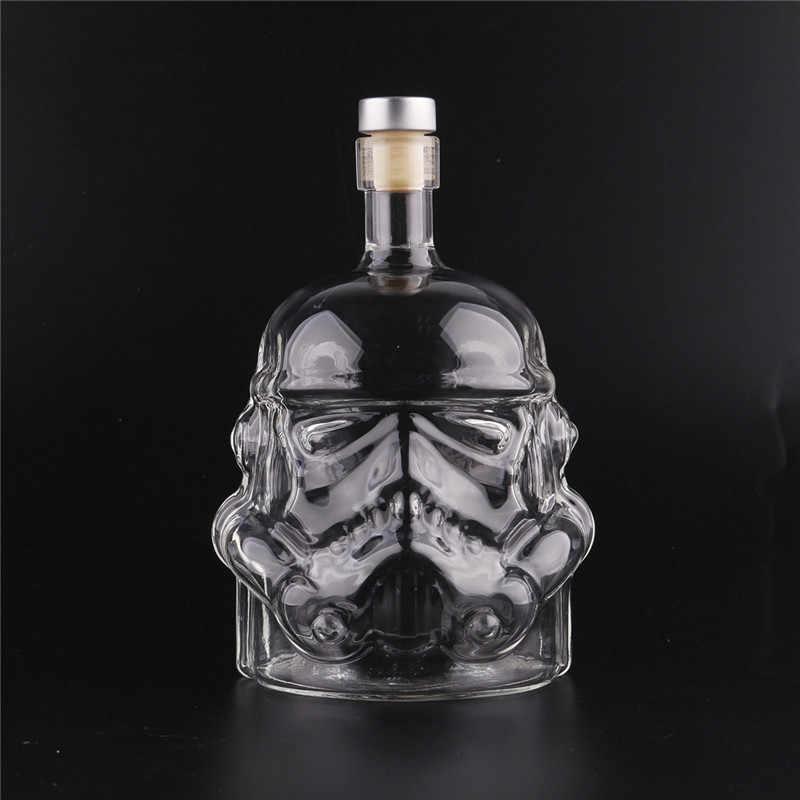 แก้วน้ำขวดแจกันสำหรับตกแต่ง Home ขวดน้ำแก้ว Novelty Star Wars หมวกกันน็อกแก้ววอดก้าวิสกี้