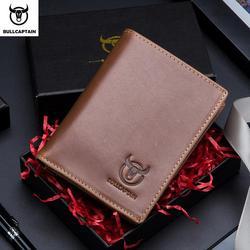BULLCAPTAIN new Korean casual mens wallet short vertical locomotive British leisure multi-function card package leather wallet