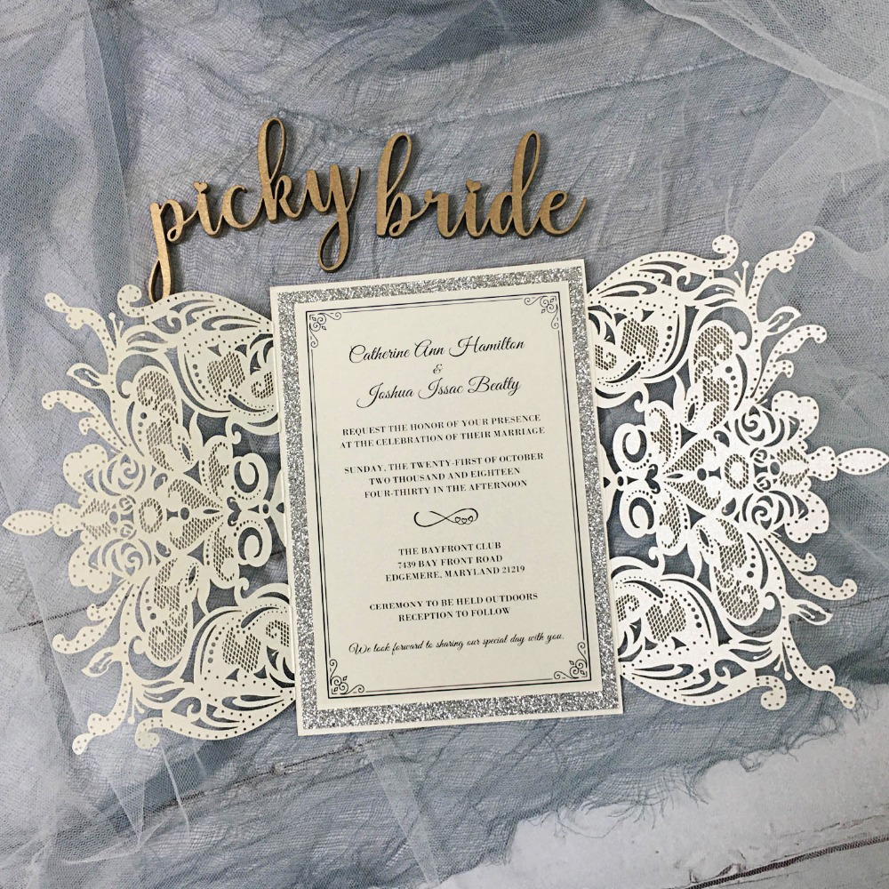 Ivory Laser Cut Invitation, Silver Glitter Wedding Invite Cards With  Envelope 5x7 inch set of 50|Cards & Invitations| - AliExpress