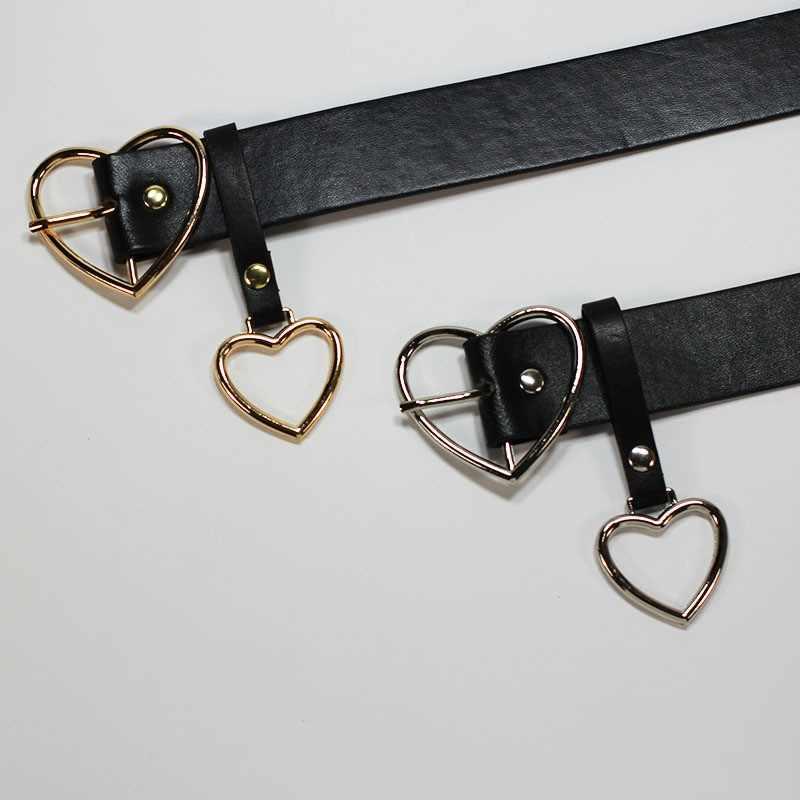 חדש אופנה Harajuku נשים עור מפוצל לב אבזם מותניים אבזם שחור נשי חגורת מכנסיים מסיבת שמלת חגורות ג 'ינס 105cm
