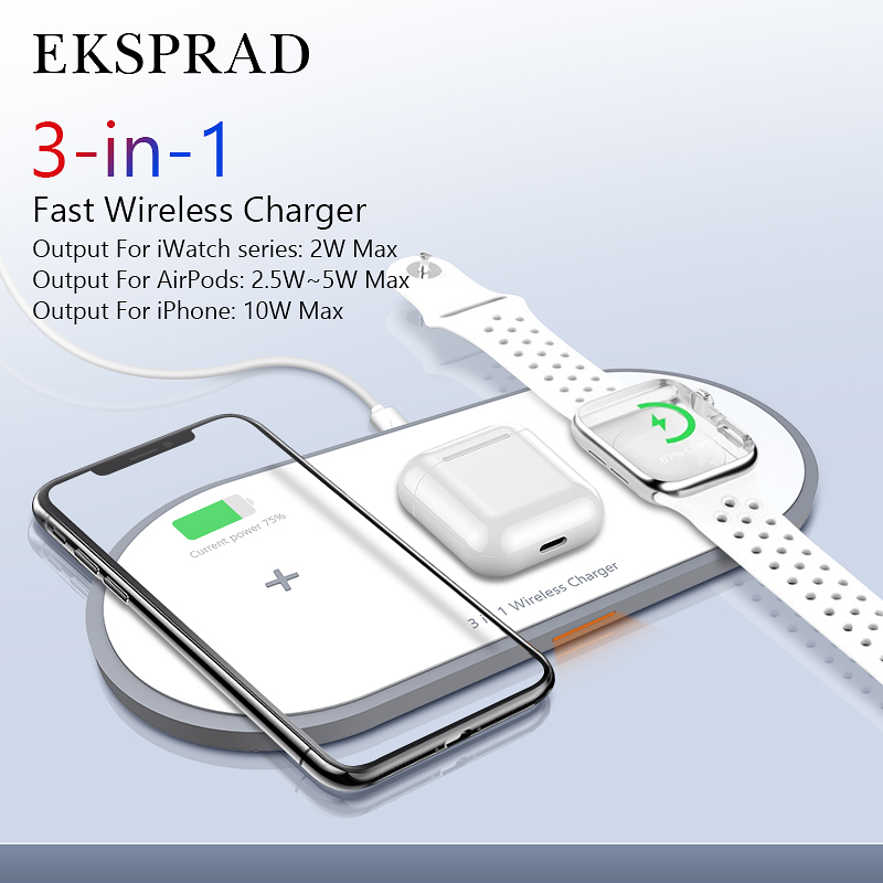 EKSPRAD 3 In 1 Wireless Charger 10W Fast Wireless Charging Pad For IPhone 11/11Pro/X/XS/8 For Apple Watch Series 5 4 3 Airpods