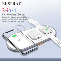 Eksprad 3 in 1 Caricatore Senza Fili 10W Veloce Wireless Pad di Ricarica per Il Iphone 11/11Pro/X/ xs/8 per Apple Serie di Orologi 5 4 3 Airpods