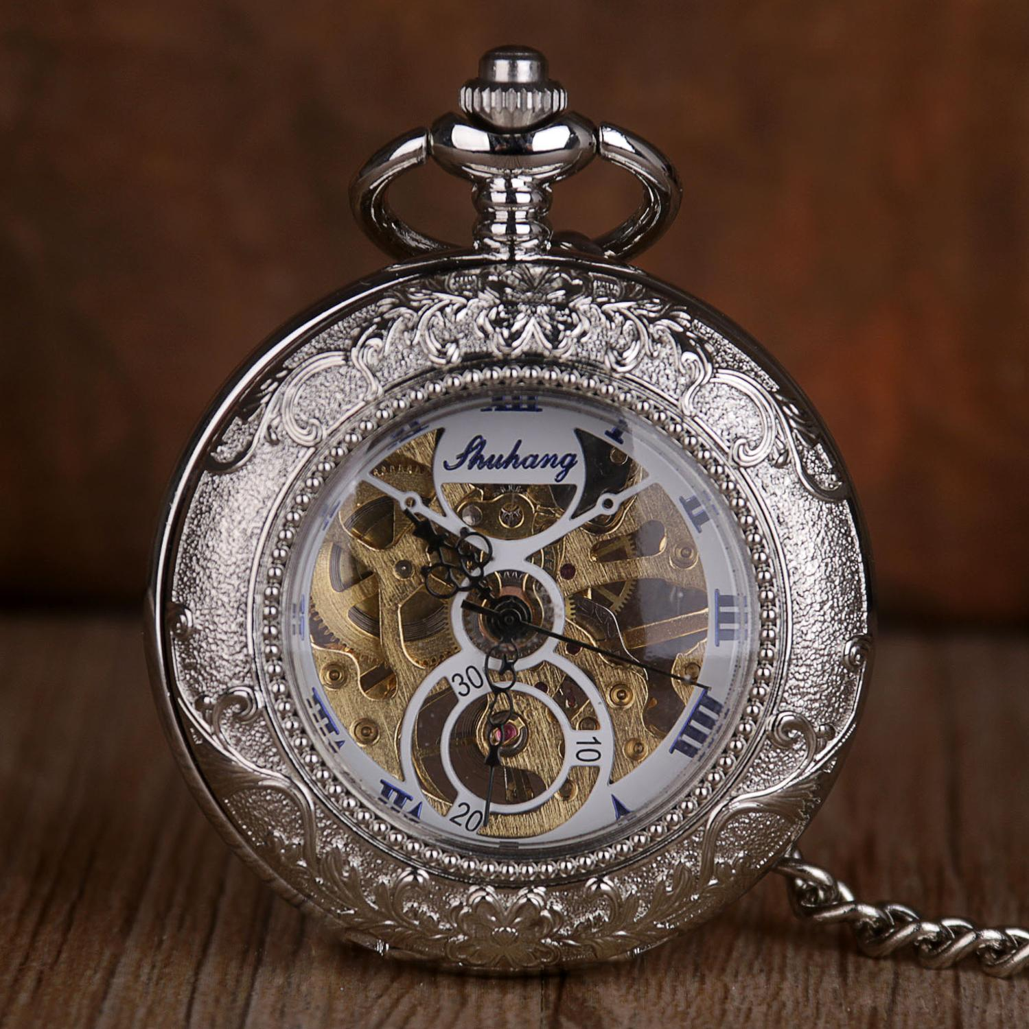 New Fashion Simple Pocket Watches Roman Number Dial Mechanical Pocket Watches With Fob Chain Causal Watch Gift For Mens Womens