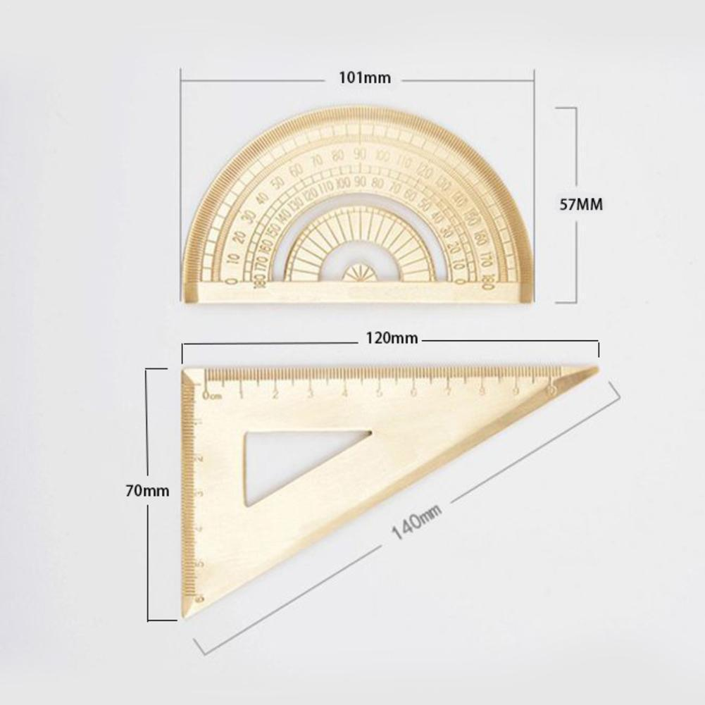 1pcs Brass Geomitric Ruler Golden Retro Semicircle & Copper Length Protractor Office Quality School Protractor 12cm Supply V8E4