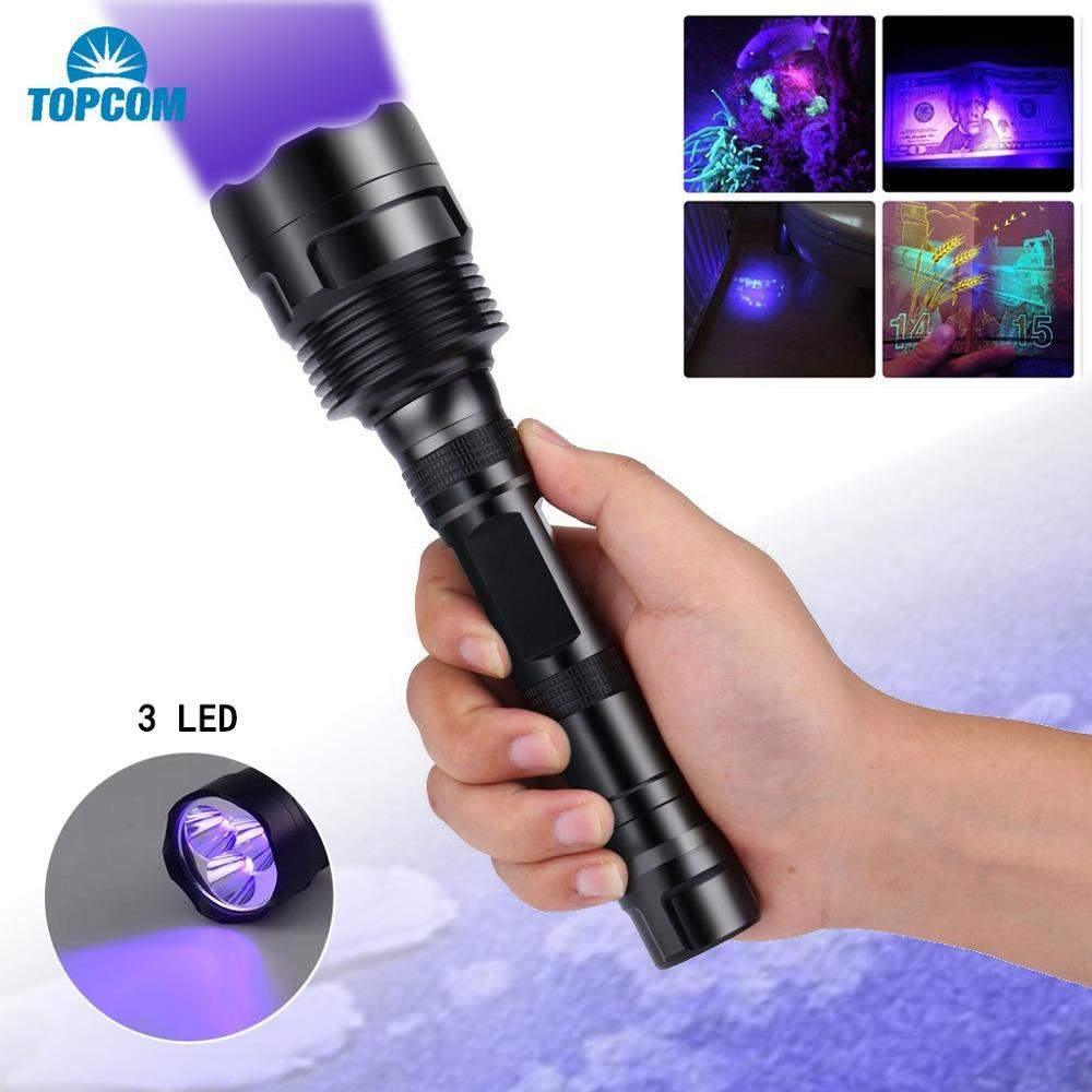 Topcom Мощный 18 Вт 365nm 395nm Светодиодный УФ фонарик светильник 3 светодиодный Ультрафиолетовый Фонари жесткий светильник UV фонарь с черным фильт...