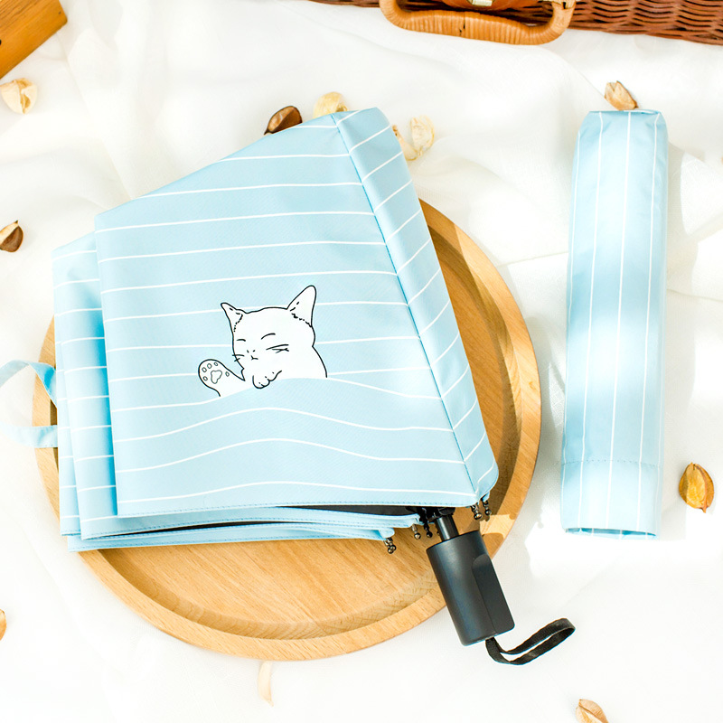 Island Yuqing Rain Dual Purpose Umbrella South Korea Hipster Simple MORI Series Creative Snooze Cat Cute Vinyl Umbrella Sun-resi