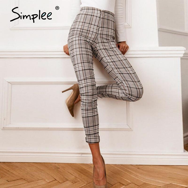 Simplee Vintage Casual Straight Plaid Women Pants Office Lady High Waist Pants Trousers Women Streetwear Spring Work OL Pants
