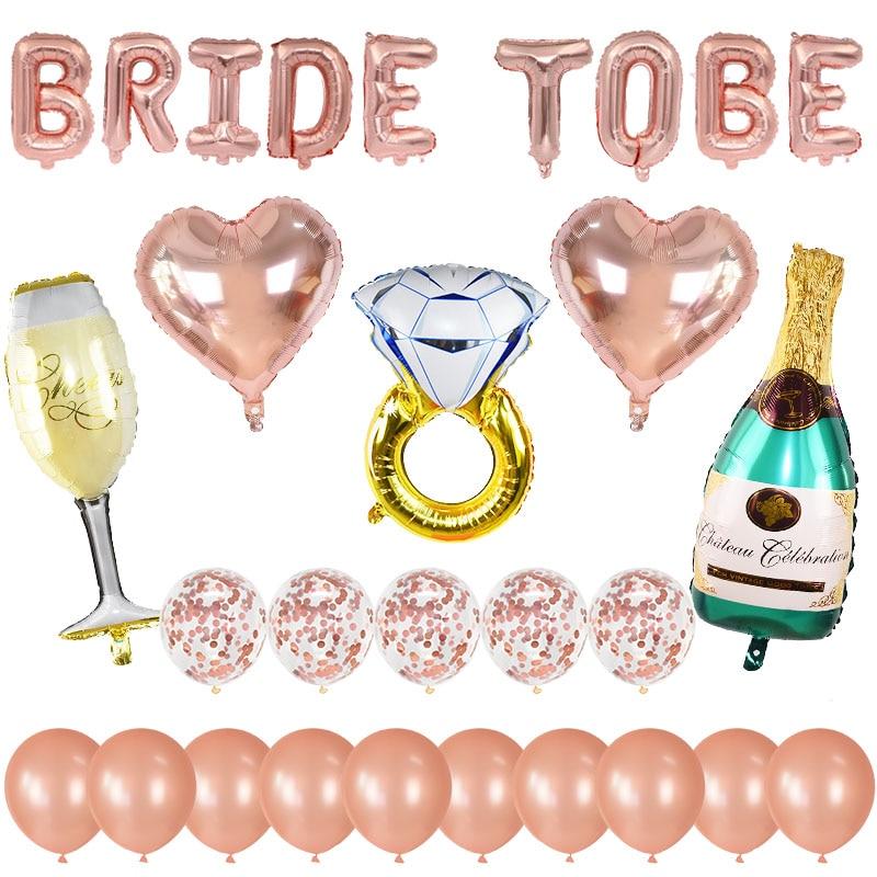 30pcs/set Rose Gold Bride To Be Balloons Kit Diamond Ring Foil Balloon Wedding Decor Bridal Shower Bachelor Theme Party Supplies