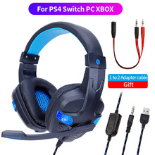 Best For PS4 Xbox Computer Gaming Headset Gamer Wired Headphone With Microphone 3.5 Jack Earphone LED Stereo Cascos For PC Phone soyto stereo bass computer gaming headset headphone earphone with microphone for computer gamer with blue lights