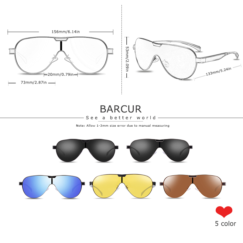 BARCUR Driving Polarized Sunglasses Men Brand Designer Sun glasses for Men Sports Eyewear lunette de soleil homme 4