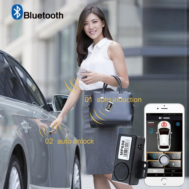 PKE Smart Key Car Alarm System With Remote Central Locking Start Stop Push Button Passive Keyless Entry MP686