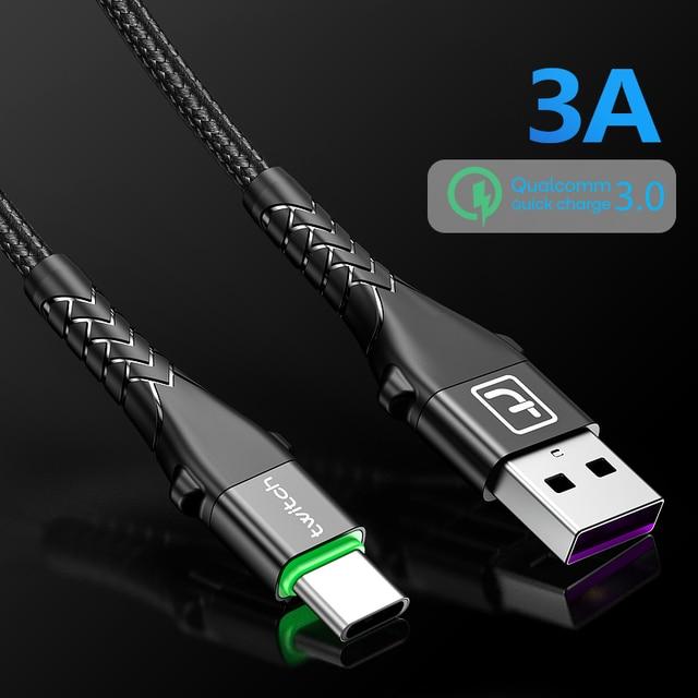 Contrazione 3A USB Tipo di Cavo C Per Samsung S10 9 Note 10 Tipo di Carica Veloce-C Del Telefono Mobile di Ricarica filo USB C Cavo Per Huawei P30 3