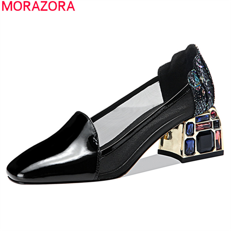 MORAZORA 2020 New Arrival Summer Women Pumps Genuine Leather Fashion Ladies Shoes Thick Heels Square Toe Dress Shoes Black