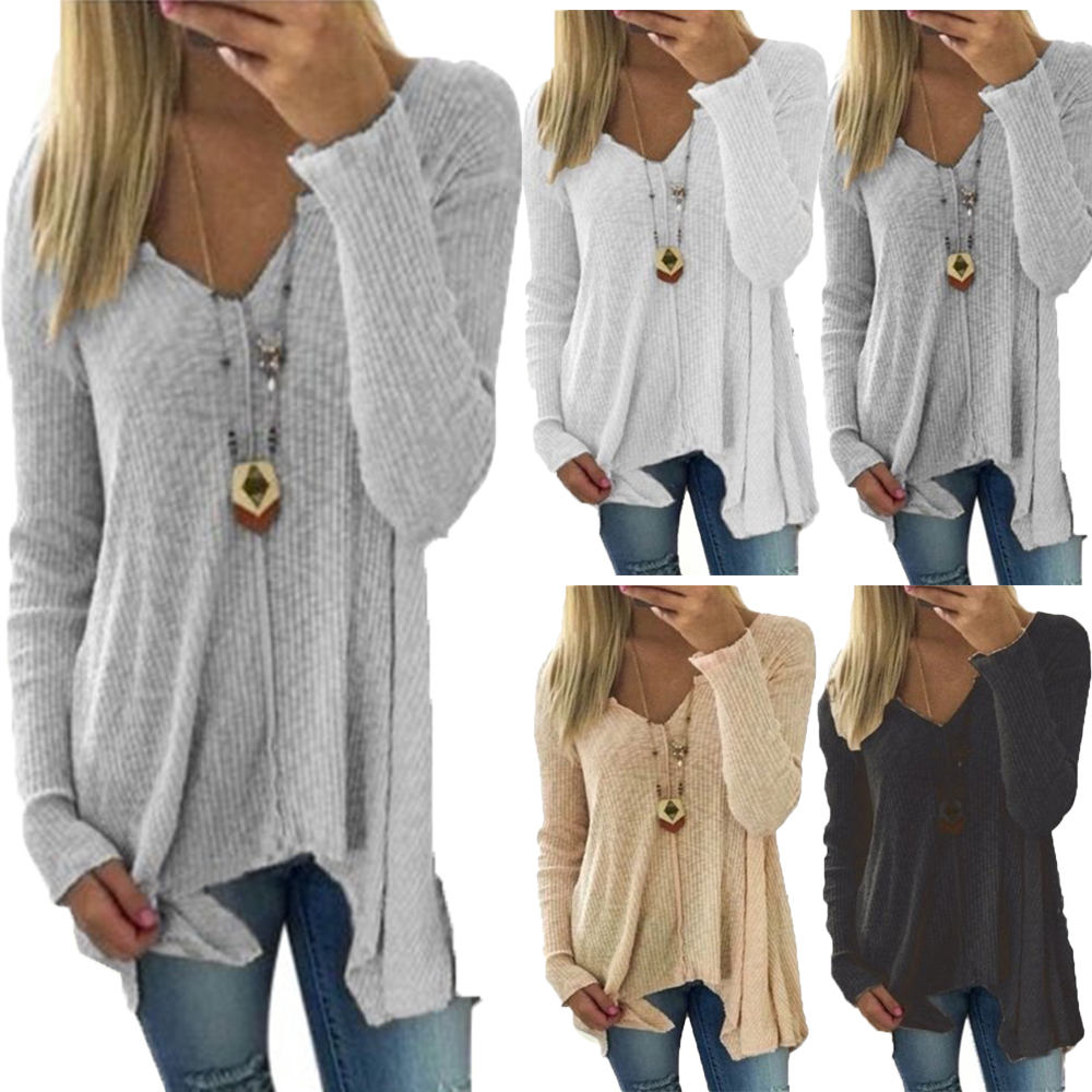 Women Sweaters 2019 Fashion Solid V Neck Pullovers Sexy Casual Long Sleeve Thin Draped Female Autumn Sweaters Plus Size