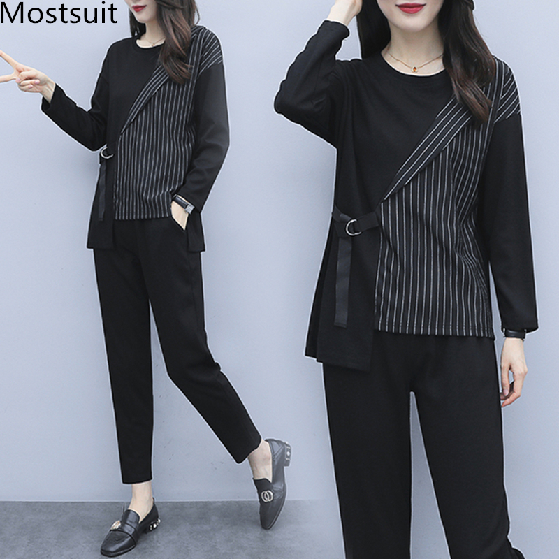 L-5xl 2019 Autum Black Two Piece Sets Outfits Women Plus Size Striped Splicing Tops And Pants Suits Elegant Office Casual Sets