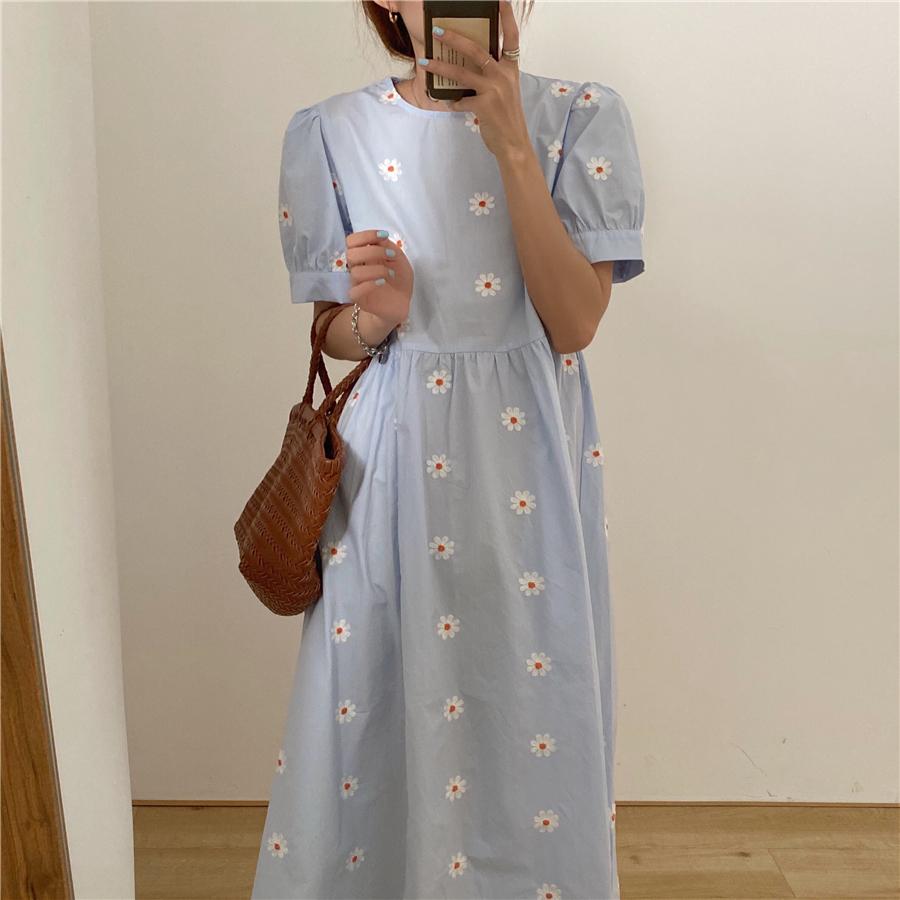 Alien Kitty Vinatge Floral Embroidery Elegant Women Dress 2021 New Summer Korean Style Puff Sleeve Party Long Dresses Vestidos