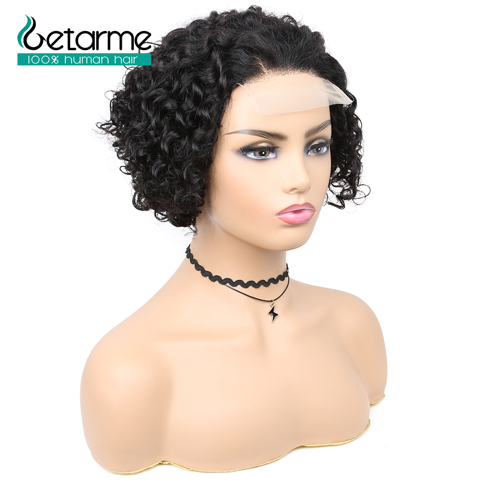 180% Pixie Cut Short Curly Wig 4*4 Closure Lace Human Hair Wigs Brazilian Remy 8