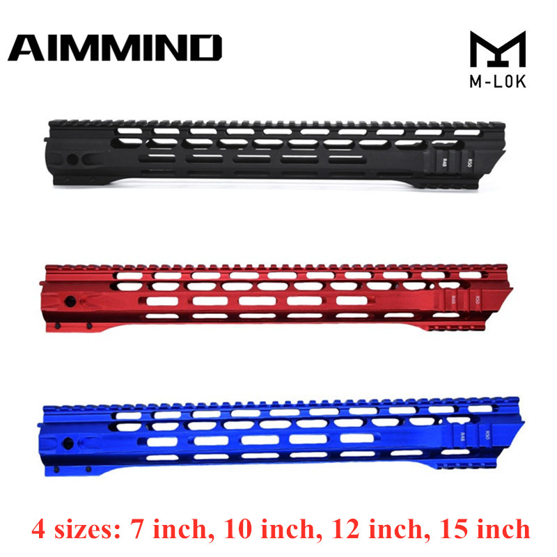 (Black/Red/Blue)7 10 12 15 Inch AEG M4 M16 AR15 Free Float M-Lock Quad Rail Handguard Picatinny Rail with Barrel Nut for Hunting(China)