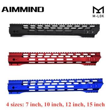 цена на (Black/Red/Blue)7 10 12 15 Inch AEG M4 M16 AR15 Free Float M-Lock Quad Rail Handguard Picatinny Rail with Barrel Nut for Hunting