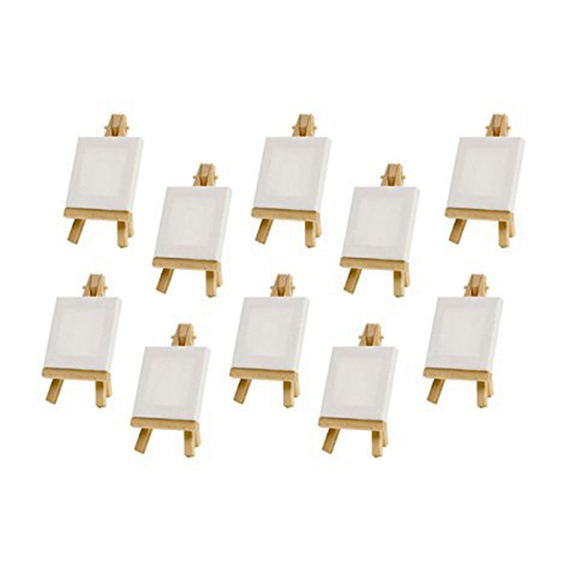 10 Sets Mini Display Easel With Canvas 8X8Cm Wedding Table Numbers Painting Hobby Painting Craft Diy Drawing Small Table Easel G