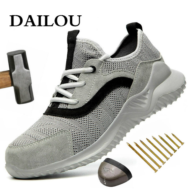 DAILOU Men Safety Shoes Boots Breathable Work Shoes Puncture-Proof Steel Toe Anti-smashing Lightweight Breathable Anti-static