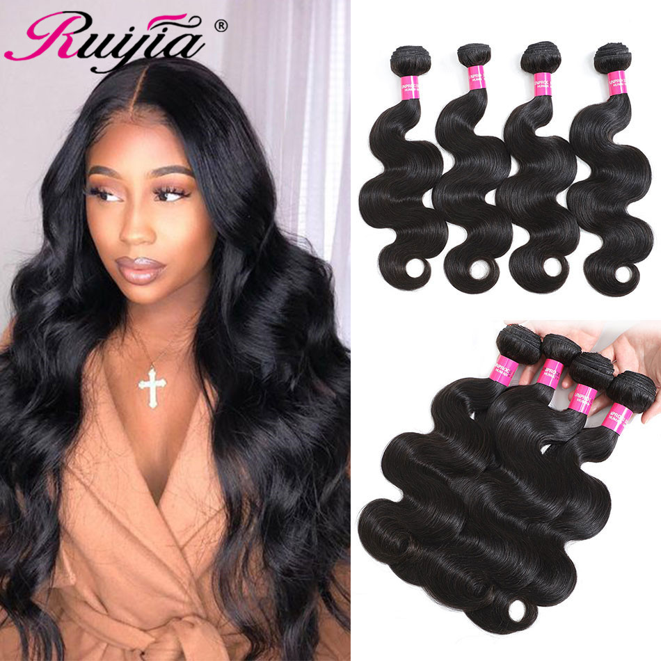 Peruvian Hair 4 Bundles Body Wave Hair Remy Human Hair Weave Long Hair 10 To 30 Inch Bodywave Bundles For Black Women RUIJIA