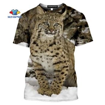 SONSPEE Funny Animals Eurasian lynx Men's T-shirt 3D Print Big Cat Wildlife Snow Forest Tshirt Summer Casual Harajuku Shirt Tee cat print tee