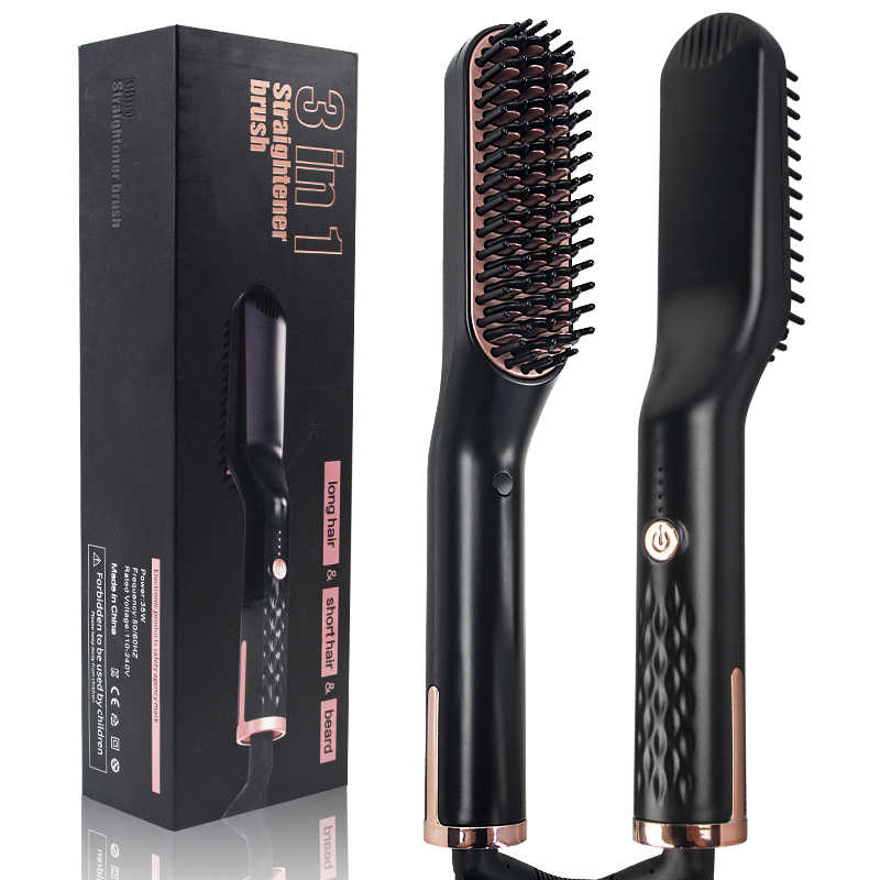3 in 1 Multifunctional Hair Straightener แปรงหวีผมเครา Straightening Comb ผม Curler Quick Hair Styler