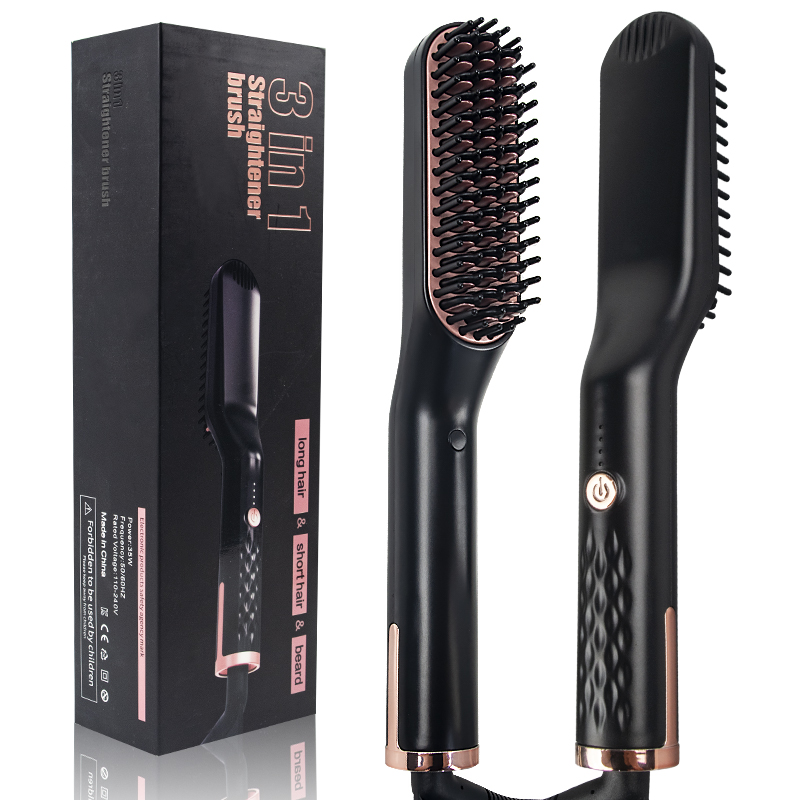 3 In 1 Multifunctional Hair Straightener Hair Comb Brush Beard Straightener Straightening Comb Hair Curler Quick Hair Styler