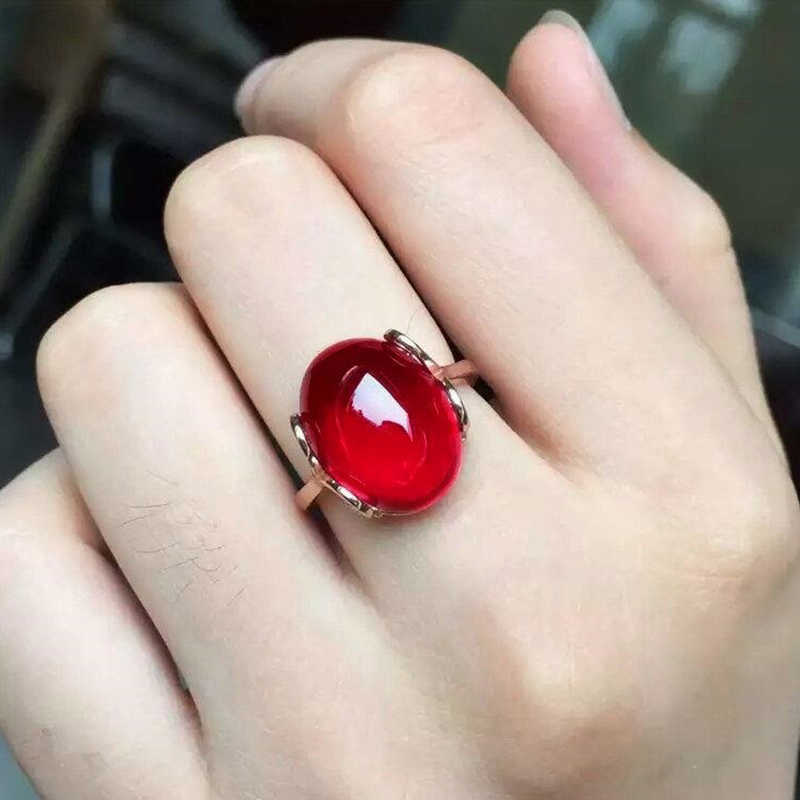 Luxury Female Big Red/Green CZ Stone Ring Simple Design Style of Luxury Atmosphere Valentine Weird Gifts For Ladies