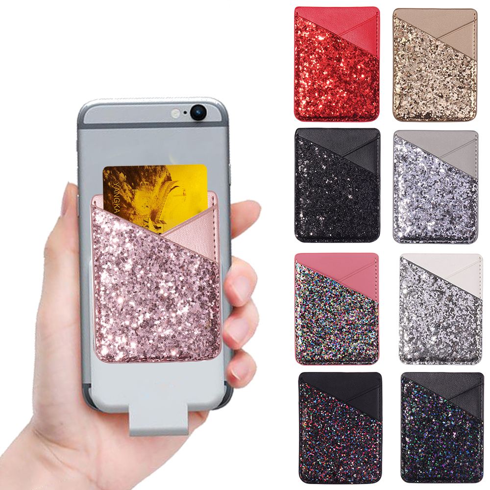 1PC Hot Fashion Elastic Cell Phone Card Holder Mobile Phone Wallet Case Credit ID Card Holder Lycra Adhesive Sticker Pocket