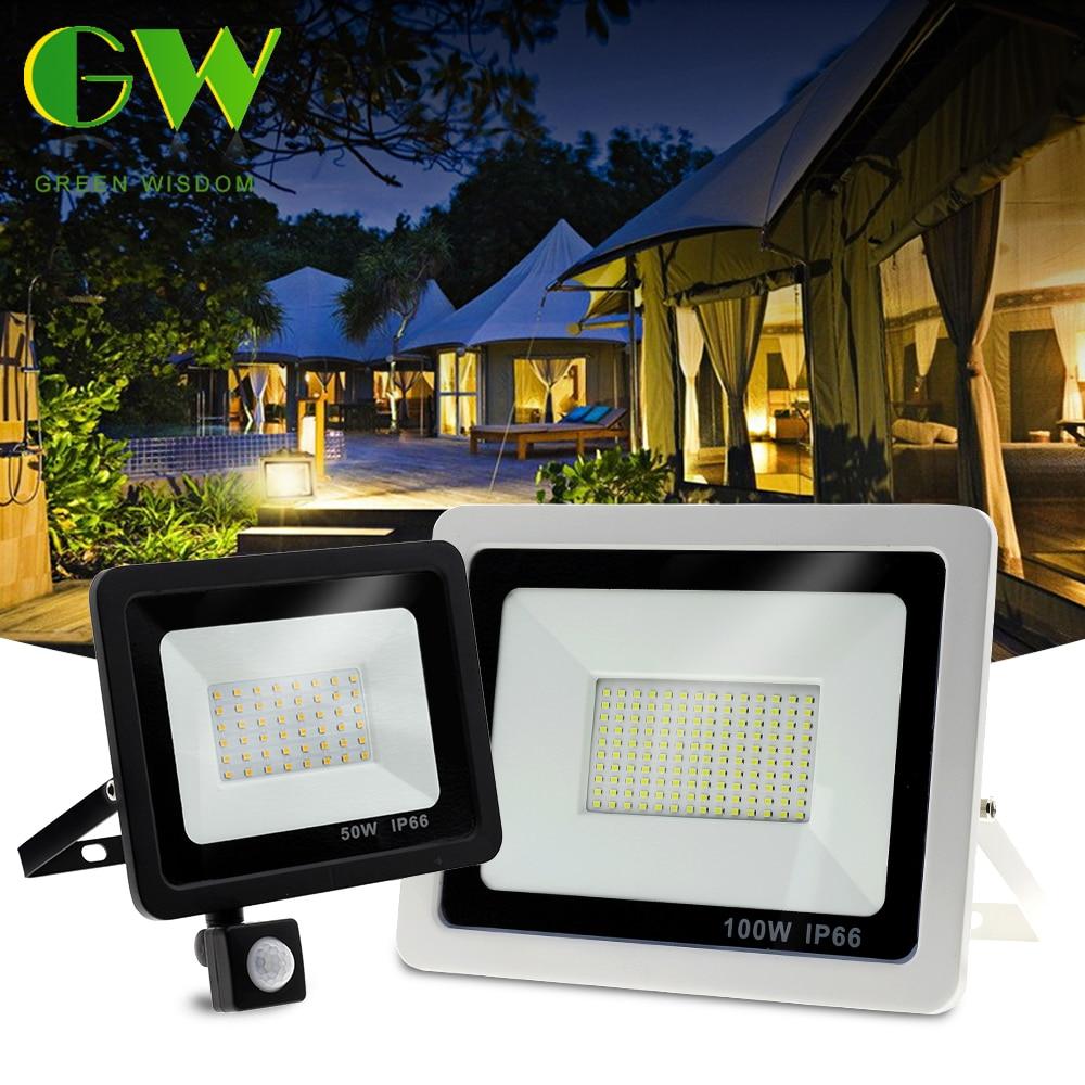 PIR Motion Sensor LED Floodlight 220V Waterproof Spotlight 10W 30W 50W 100W Flood Light Outdoor Lighting for Garden Street Wall
