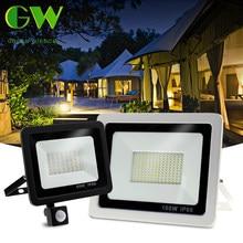 Pir sensor de movimento led projector 220v à prova dspotlight água spotlight 10w 30 50 100 luz inundação iluminação ao ar livre para jardim parede de rua