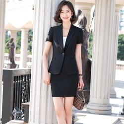 Zomer Zwarte Blazer Vrouwen Bussiness Suits Rok En Jasje Sets Korte Mouw Dames Werkkleding Uniform Ol