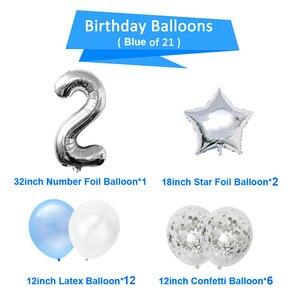 Image 2 - 21pcs מספר 2 רדיד בלונים שמח מסיבת יום הולדת קישוטי ילדה ילד 2nd בלוני 2 שנים שני אספקת יום הולדת