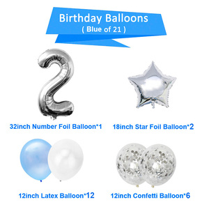 Image 2 - 21pcs Number 2 Foil Balloons Happy Birthday Party Decorations Girl Boy 2nd Balloons 2 Years Old Second Birthday Supplies