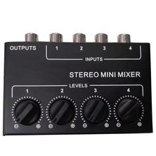 Cx400 Mini mezclador pasivo estéreo Rca de 4 canales, mezclador pequeño, dispensador estéreo para vivo y estudio