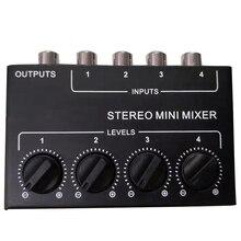 Cx400ミニステレオrca 4チャンネルパッシブミキサー小さなミキサーミキサーステレオディスペンサーライブとスタジオ
