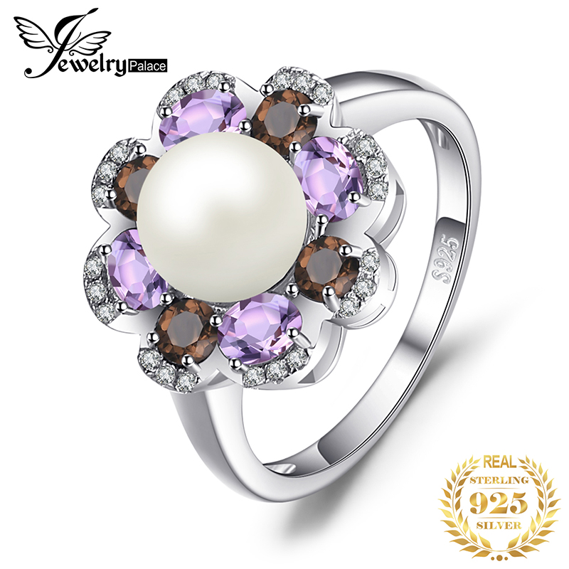 JewelryPalace 7mm Cultured Pearl 1ct Genuine Smoky Quartz Amethyst Cluster Rings 925 Sterling Silver Fine Jewelry For Women Gift
