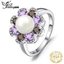 Jewelrypalace 7mm cultivada pérola 1ct genuine smoky quartzo ametista cluster anéis 925 prata esterlina jóias finas para presente feminino