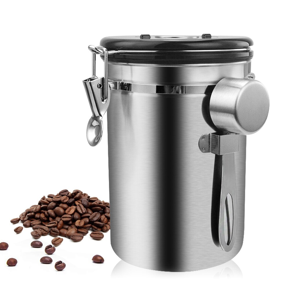 Stainless Steel Airtight Sealed Canister With Spoon Coffee Flour Sugar Container Holder Can Storage Bottles For Coffee Bean Jars