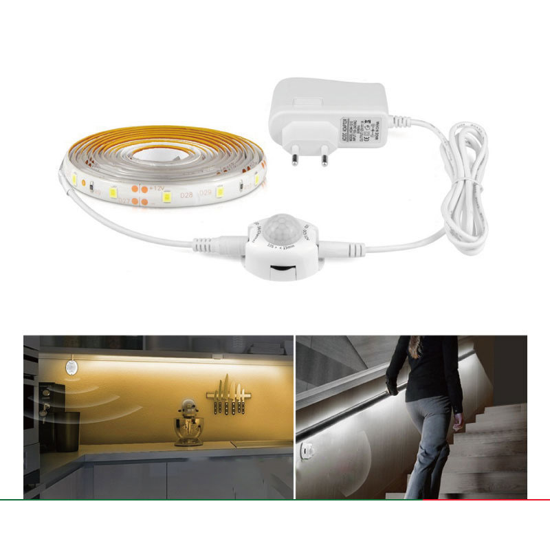 1M/2M/3M/4M/5M Waterproof Night Light LED Strip White/Warm White LED Under Bed Side Kitchen Wardrobe Stairs Lighting Tape